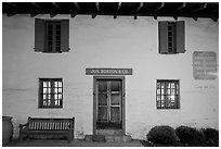 Casa del Oro facade at night. Monterey, California, USA ( black and white)