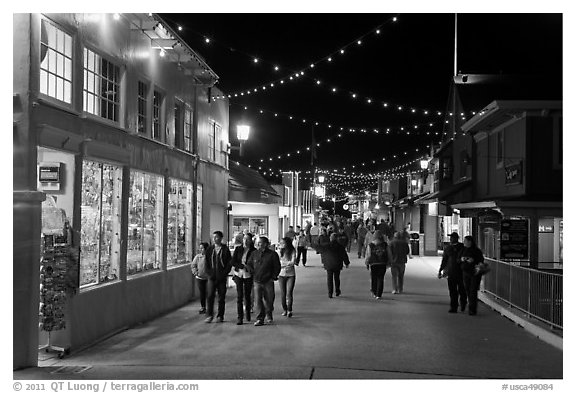 On the Fishermans Wharf at night. Monterey, California, USA (black and white)