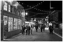 On the Fishermans Wharf at night. Monterey, California, USA ( black and white)