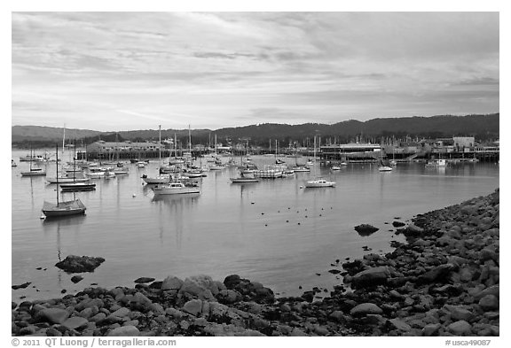Harbor and Fishermans Wharf, late afternoon. Monterey, California, USA (black and white)