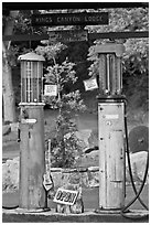 America oldest double gravity gas pumps, Kings Canyon Lodge. California, USA (black and white)