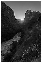 Moonrise on Kings Canyon, South Fork of the Kings River, Giant Sequoia National Monument near Kings Canyon National Park. California, USA (black and white)
