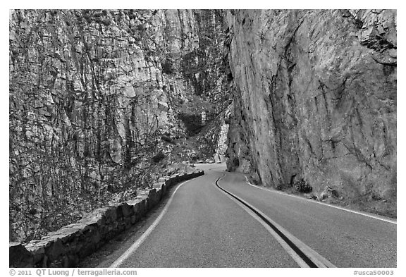 Road through vertical canyon walls, Giant Sequoia National Monument near Kings Canyon National Park. California, USA (black and white)