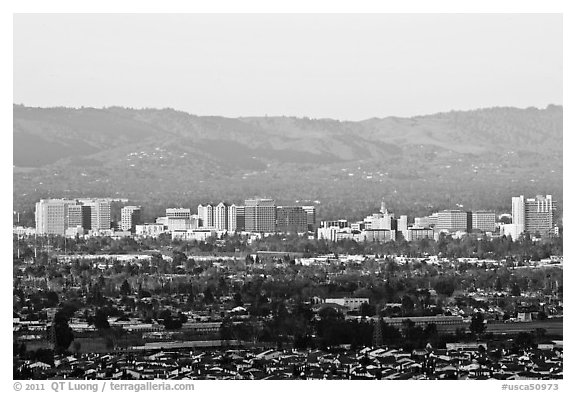 City skyline and Santa Cruz Mountain, early morning. San Jose, California, USA (black and white)