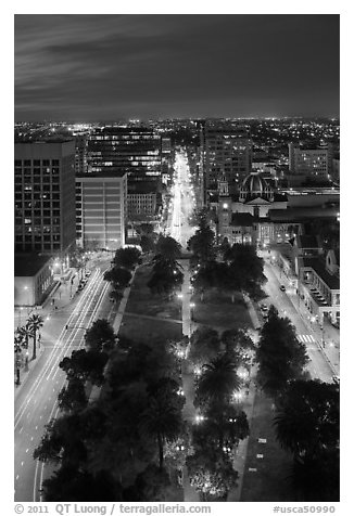 Cesar Chavez park from above at night. San Jose, California, USA (black and white)