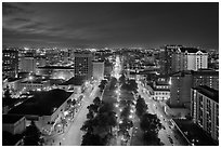 Downtown San Jose from above at night. San Jose, California, USA (black and white)
