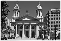 Cathedral Basilica of Saint Joseph. San Jose, California, USA (black and white)