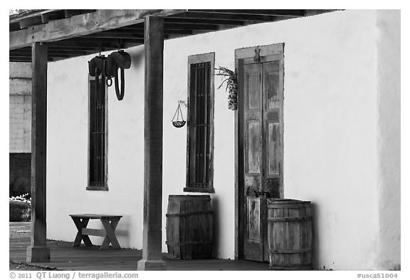 Facade of Luis Maria Peralta Adobe, oldest building in San Jose. San Jose, California, USA (black and white)