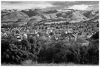 Evergreen Valley and hills in winter. San Jose, California, USA ( black and white)