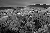 Villages community and hills in spring. San Jose, California, USA ( black and white)