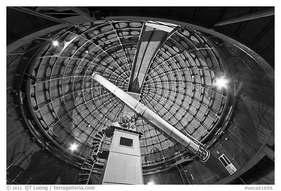 ames Lick telescope. San Jose, California, USA (black and white)