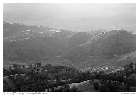 Hills and ridges at sunset. San Jose, California, USA (black and white)
