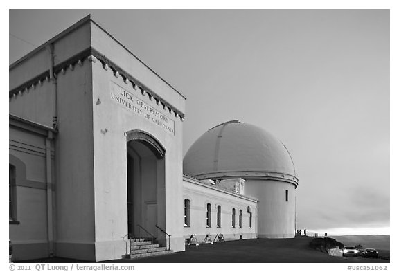 University of California Lick Observatory at sunset. San Jose, California, USA (black and white)