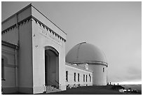 University of California Lick Observatory at sunset. San Jose, California, USA ( black and white)