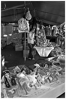 Mexican dolls, San Jose Flee Market. San Jose, California, USA (black and white)