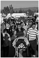 Crowded alley, San Jose Flee Market. San Jose, California, USA (black and white)