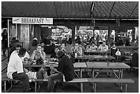 Eatery, San Jose Flee Market. San Jose, California, USA (black and white)