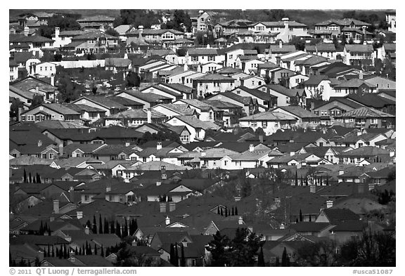 Rooftops of single family homes, Evergreen. San Jose, California, USA (black and white)
