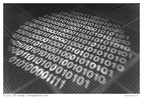 Pattern of ones and zeros, Intel Museum. Santa Clara,  California, USA (black and white)