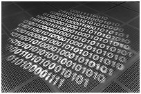 Pattern of ones and zeros, Intel Museum. Santa Clara,  California, USA ( black and white)