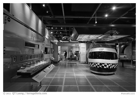 Technology exhibit, Intel Museum. Santa Clara,  California, USA (black and white)