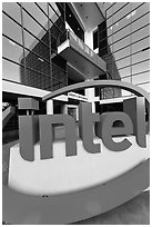 Intel sign and Robert Noyce building. Santa Clara,  California, USA ( black and white)