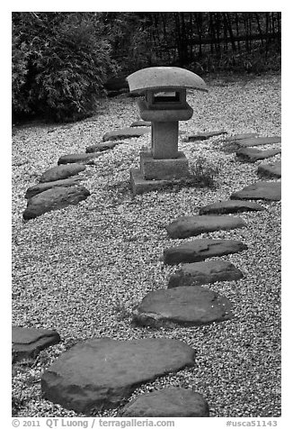 Zen garden, Hakone Estate. Saragota,  California, USA (black and white)