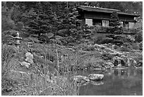 Pond and pavillion. Saragota,  California, USA (black and white)