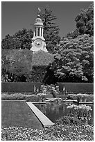 Sunken garden and garden shop, Filoli estate. Woodside,  California, USA (black and white)