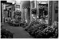 Alley with art galleries and flowers, Sausalito. California, USA (black and white)