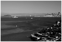 Bay seen from heights, Sausalito. California, USA (black and white)