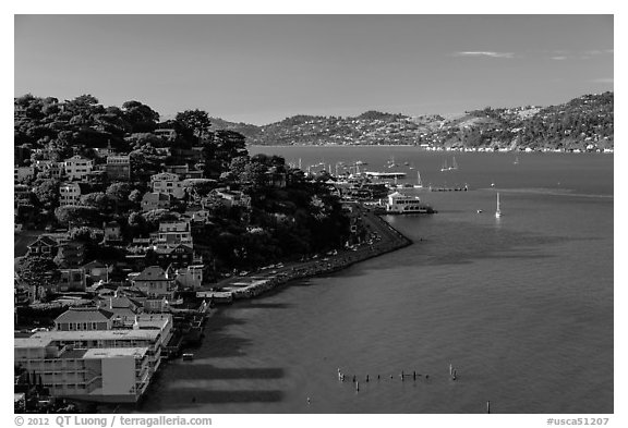 View from above, Sausalito. California, USA (black and white)