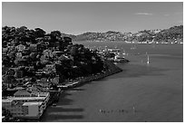 View from above, Sausalito. California, USA ( black and white)
