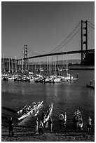 Presidio Yacht Club and Golden Gate Bridge. California, USA (black and white)