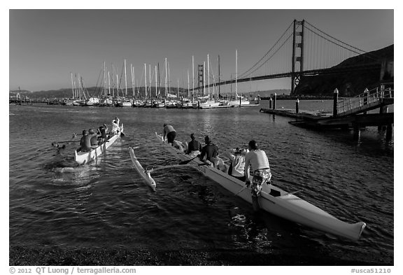 Outrigger canoes and Golden Gate Bridge. California, USA (black and white)