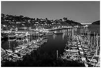 Belvedere Harbor at night. California, USA (black and white)