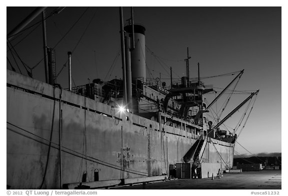 SS Red Oak Victory ship at dusk, Rosie the Riveter National Historical Park. Richmond, California, USA (black and white)