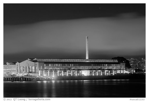 Factory building at night, Rosie the Riveter/World War II Home Front National Historical Park. Richmond, California, USA (black and white)