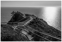 Overlook over Pacific Ocean, late afternoon. California, USA (black and white)