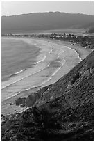 Stinson Beach from above at sunset. California, USA ( black and white)