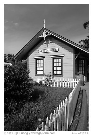 Historic building, Ardenwood farm, Fremont. California, USA (black and white)