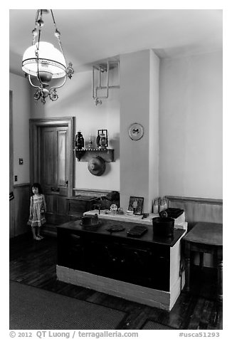 John Muir's office, John Muir National Historic Site. Martinez, California, USA (black and white)