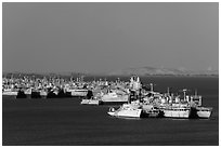 Ghost fleet in Suisin Bay. Martinez, California, USA (black and white)