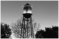 Campbell Water Tower at dusk, Campbell. California, USA (black and white)