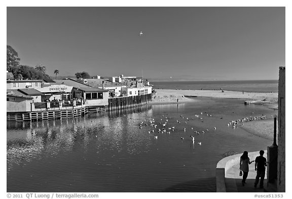 Creek and beach. Capitola, California, USA (black and white)