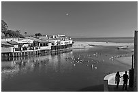 Creek and beach. Capitola, California, USA ( black and white)