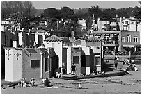 Beachfront with vividly painted cottages. Capitola, California, USA (black and white)