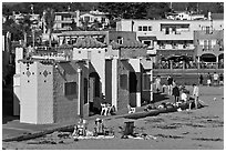 Colorful historic Venetian hotel. Capitola, California, USA ( black and white)