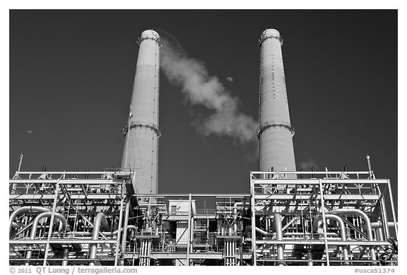 Natural gas powered electricity generation plant, Moss Landing. California, USA (black and white)
