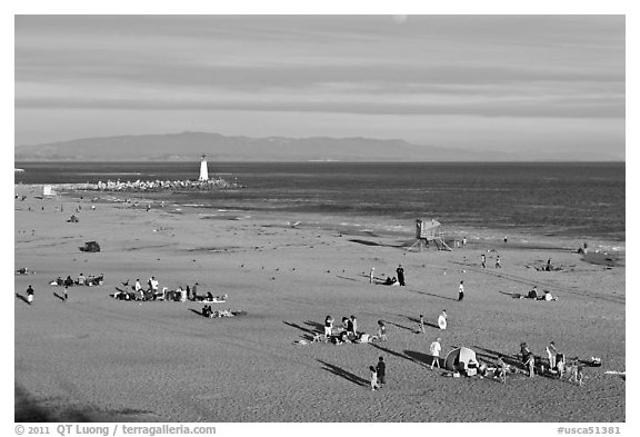 Beach and lighthouse, afternoon. Santa Cruz, California, USA (black and white)